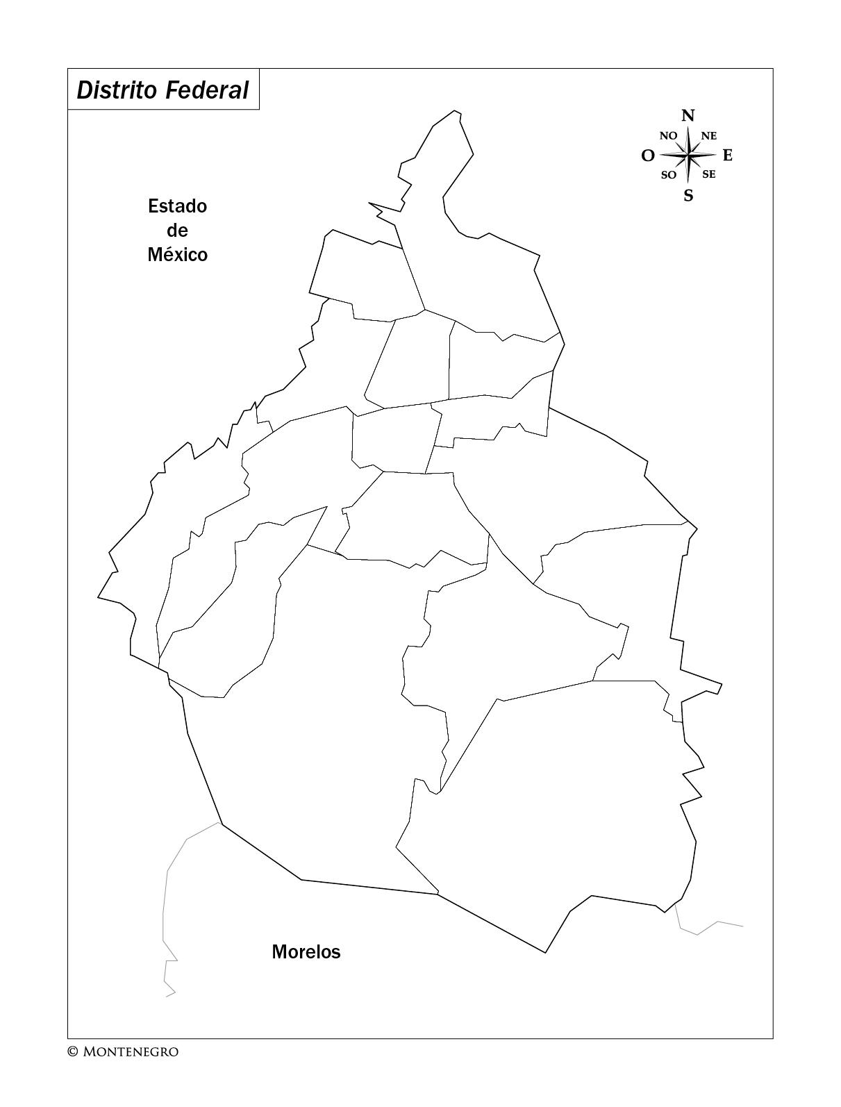 Mapa de las delegaciones del Distrito Federal de México